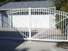 Aluminum Arched Driveway Gate with and Scrolls, White Powder Coated, Royal Oak
