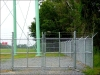6' Industrial Galvanized Cantilever Chain Link Driveway Gate and Fence with Barbed Wire