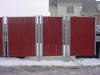 6' Commercial Galvanized Chain Link Fence with Red Vinyl Slats for Privacy