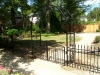 Custom Wrought Iron Pedestrian Arched Gate/Arbor with Finials Ornamental Scrolls/Iron Fence with Finials and Scrolls