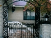 Wrought Iron Double Arched Pedestrian Gate with Bird and Scroll Design, Royal Oak