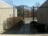 Custom Iron Courtyard Pedestrian Double Gate and Fence with Rings