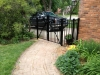 Custom Aluminum Arched Double Cantilever Pedestrian Gate, with Finial Design