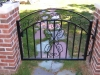 Custom Iron Arched Pedestrian Gate, with Scrolls and Ornamental Casting