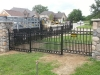 Wrought Iron Fence, Arched Gate with Finials and Rings, Bloomfield Hills