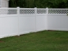 White Kingston Vinyl Privacy Fence with Customized Lattice Top Design and Flat Post Caps