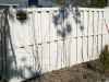 Tan Shadow Box Privacy PVC Fence with Flat Cap Post Style