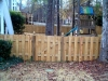 Short White Cedar Shadow Box Fence, Dog Eared Style with Gothic Posts